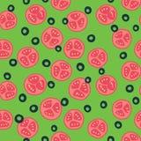 Stylized tomato and olive pattern. Stylized red tomato pattern with green background stock illustration