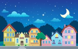 Stylized town at night Royalty Free Stock Image