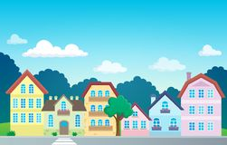 Stylized town theme image 1 Stock Photography