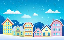 Stylized town in winter Stock Photo