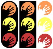 Stylized traffic light made with Hands. A set of traffic lights made with hands. An idea usable for all that projects that needs of a traffic light (tv program Stock Photo