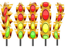 Stylized traffic lights Stock Photos