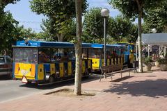 Stylized train carriages on the streets Calella Stock Photography