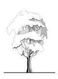 Stylized tree 1. Vector illustration of tree stylized drawing Stock Photography