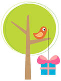 Stylized tree with a bird Royalty Free Stock Image