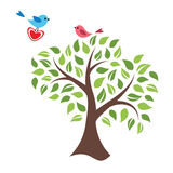 Stylized tree and birds in love Stock Image