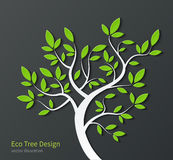 Stylized tree with branches and green leaves Stock Photography