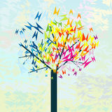 Stylized tree with butterflies Stock Images