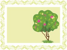 Stylized tree with butterflies in the frame Stock Photos
