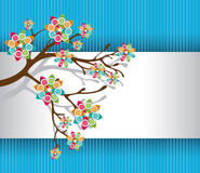 Stylized Tree with Colorful Blossoms Light. Stylized Tree with Colorful Blossoms on White and Blue Striped Background Vector Illustration eps8 Royalty Free Stock Photo