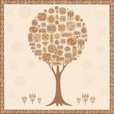 Stylized tree from ethnic elements Stock Image