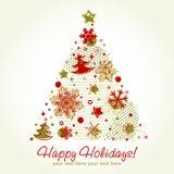stylized tree för kort jul vektor illustrationer