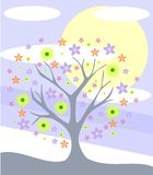 Colorful background with Stylized florl tree royalty free illustration