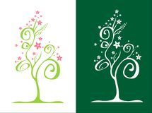Stylized tree / with flowers / vector Stock Image