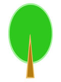 Stylized tree with green crown Stock Images