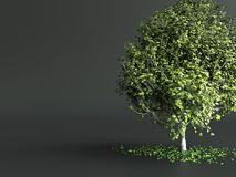 Stylized tree with green leaves on dark grey background. 3d render. Stylized tree with green leaves on dark grey background. 3d illustration Royalty Free Stock Photography