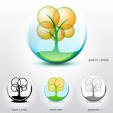 Stylized tree on ground inside of sphere. Vector design element for logos, icons, symbols and other visual identity of company Stock Photo