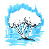 Stylized tree. Hand drawn. Tree sketch silhouette on light blue Royalty Free Stock Image