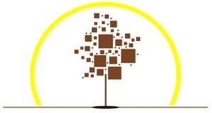 Stylized tree logo with squares isolated Stock Photos