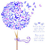 Stylized tree made of butterflies. Vintage stylized vector tree made of butterflies in violet blue hues. Template card design with space for text. Design element Royalty Free Stock Image