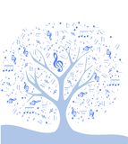 Stylized colorful tree with notes vector illustration