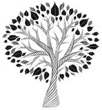 Stylized tree.pencil drawing.silhouette.graphic arts Royalty Free Stock Images