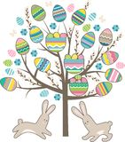 Stylized tree with rabbits isolated on white Stock Photo