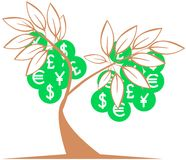 Stylized tree with value symbols isolated Royalty Free Stock Photos