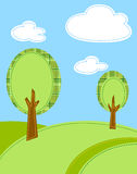 Stylized trees cartoon background Royalty Free Stock Images