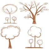 Set of Stylized trees isolated Stock Image