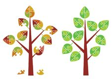 Puzzle trees spring autumn. Royalty Free Stock Photography