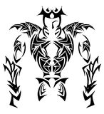 Stylized tribal Knight in black and white isolated Stock Photos