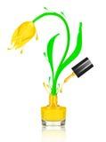 Stylized tulip flower made with splashes of yellow nail polish Royalty Free Stock Photos