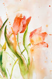 Stylized tulips flowers Stock Photo