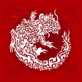 Stylized twisted dragon tattoo Royalty Free Stock Photos