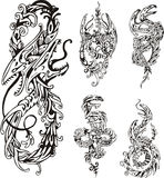 Stylized two-headed dragons. Set of black and white vector illustrations Royalty Free Stock Images