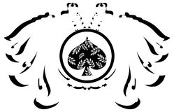 Stylized two headed eagle with spades  Royalty Free Stock Photography