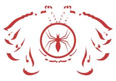 Stylized two headed eagle with spider isolated Stock Photography