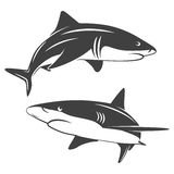 Stylized two sharks. Monochrome illustration of stylized two sharks isolated on white. Vector EPS8 illustration Stock Photos