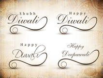 Stylized typography of text happy Diwali. Stock Photo