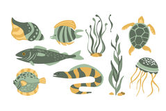 Stylized Underwater Nature Collection Of Icons Royalty Free Stock Image