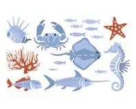 Stylized Underwater Nature Set Of Icons Stock Image