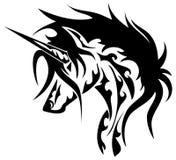 Stylized unicorn in black and white isolated Royalty Free Stock Image