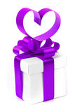 Stylized valentine heart made from purple bow Stock Photos