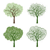 Stylized vector green tree set  on white background Royalty Free Stock Photos