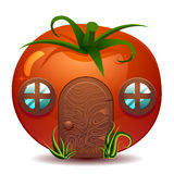Stylized vector illustration of fresh ripe tomato Royalty Free Stock Photo