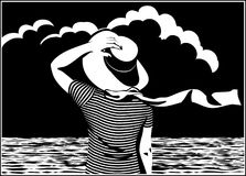 The girl on the shore. Stylized vector illustration of a girl in a striped T-shirt with a hat on the shore Royalty Free Stock Photo