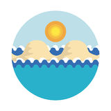 Stylized vector illustration of sea with waves, with sandy islands under the sky with shining tropical sun stock illustration