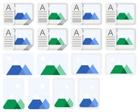 Photo icons. Stylized vector photo icons and album icons for pc Stock Photos