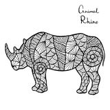 Stylized vector Rhino, zentangle isolated on white background. Royalty Free Stock Photos
